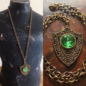 Vintage 60s Long Shield Pendant Necklace